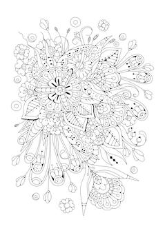 Fleurs abstraites en noir et blanc. page verticale à colorier.