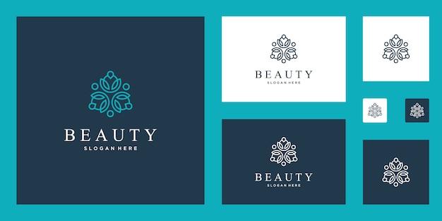 Fleurs abstraites propres et élégantes inspirant les logos de conception de beauté, de yoga et de spa.