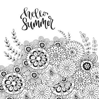 Fleurs abstraites de vecteur pour la décoration. page de livre de coloriage adulte. zentangle art pour le design. bonjour été lettrage dessiné à la main