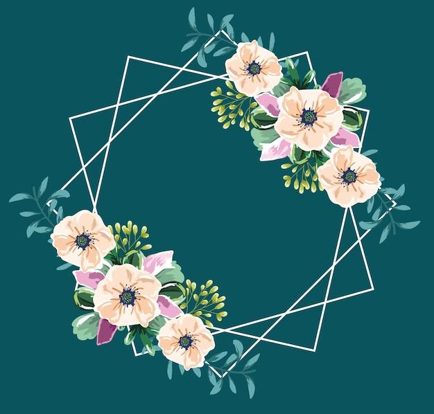 Fleurs aquarelle cadre fond vert