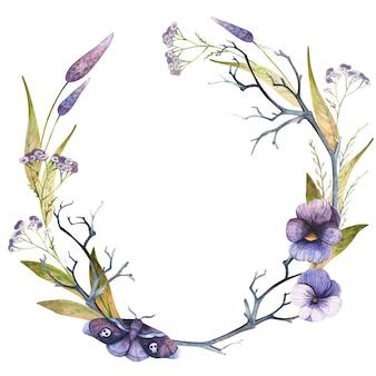 Fleurs d'aquarelle de couronne d'automne et papillon avec des crânes