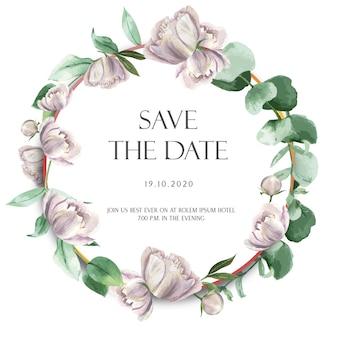 Fleurs d'aquarelle de couronnes de pivoines roses avec texte