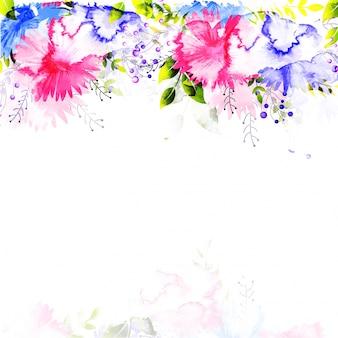 Les fleurs d'aquarelle décorent la carte d'invitation.
