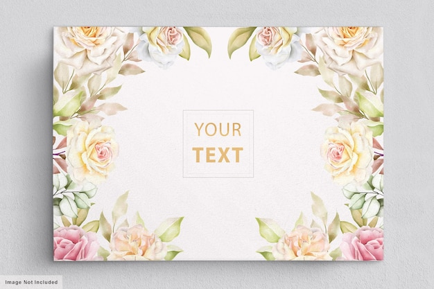 Fleurs aquarelle élégantes avec carte d'invitation de belles feuilles