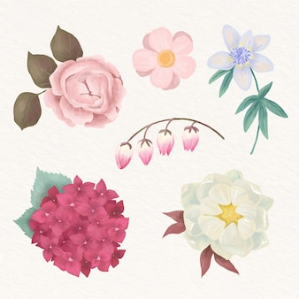 Fleurs aquarelles peintes à la main