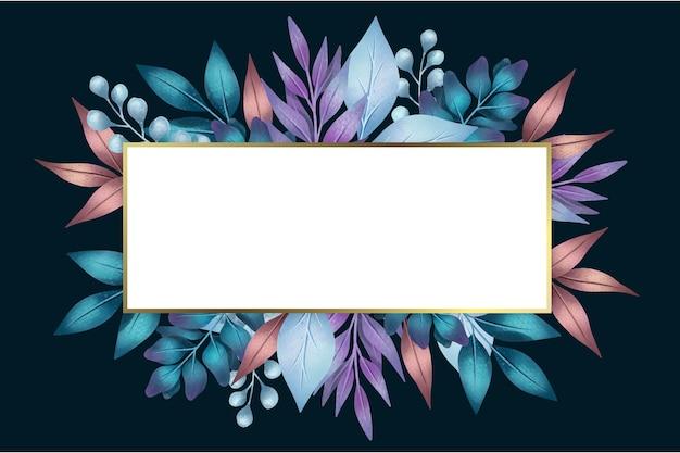 Fleurs avec bannière vide en forme géométrique