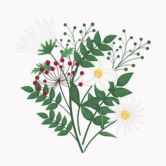 Fleurs blanches avec des branches