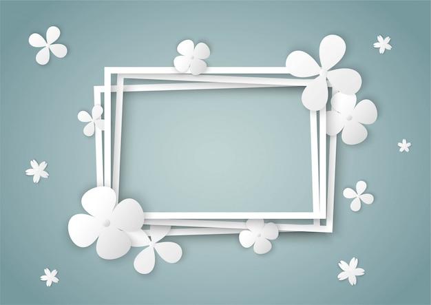 Fleurs blanches avec cadre carré