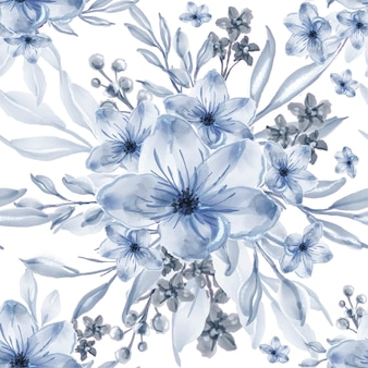 Fleurs bleues aquarelle