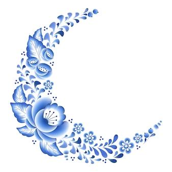 Fleurs bleues florales en porcelaine russe bel ornement folklorique. illustration. décor de composition d'angle.