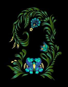 Fleurs bleues ornement floral
