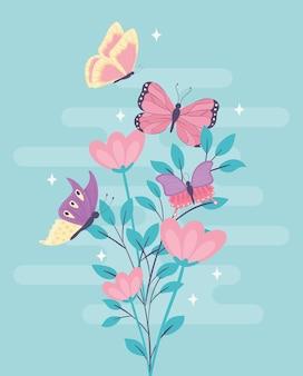 Fleurs de branche de papillons