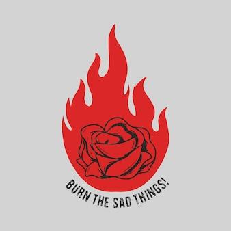 Fleurs brûlent illustration design