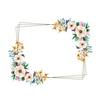 Fleurs cadre carré nature aquarelle