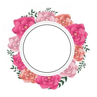 Fleurs cadre rond