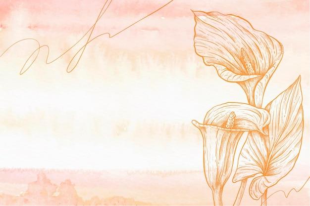 Fleurs de calla pastel fond dessiné à la main