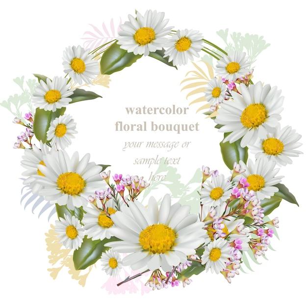 Fleurs de camomille autour de carte de couronne. cadre décoratif illustration vectorielle