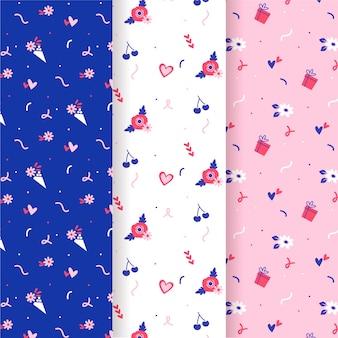 Fleurs et cerises valentine seamless pattern