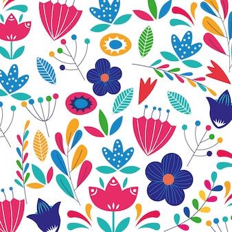 Fleurs colorées à l'arrière