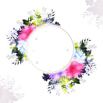 Les fleurs colorées aux aquarelles décorent la carte d'invitation.