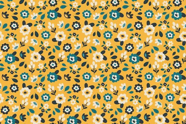 Fleurs colorées sur fond jaune