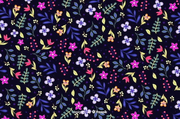 Fleurs colorées sur fond sombre