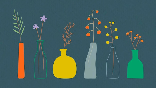 Fleurs colorées de griffonnage dans le modèle de vases