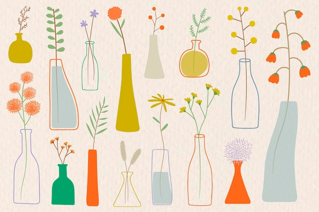 Fleurs colorées de griffonnage dans des vases sur le vecteur de fond beige