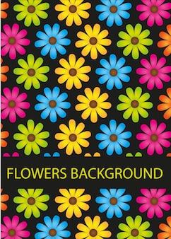 Fleurs colorées isolés sur fond noir vecteur