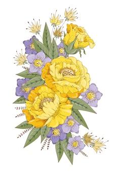 Fleurs colorées jaunes et lilas.