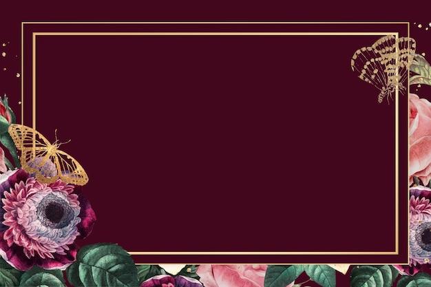 Fleurs colorées de luxe cadre or aquarelle fond rouge
