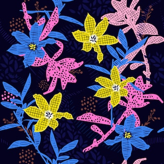 Fleurs colorées en motif