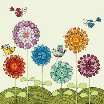 Fleurs colorées et oiseaux volants