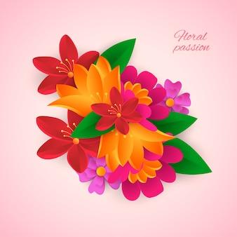 Fleurs colorées de style papier dégradé 2d