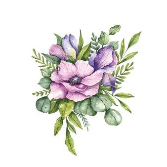 Fleurs de composition florale aquarelle. arrangement floral d'eucalyptus anémone