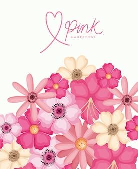 Fleurs de conception de sensibilisation rose, cancer du sein et thème de la campagne
