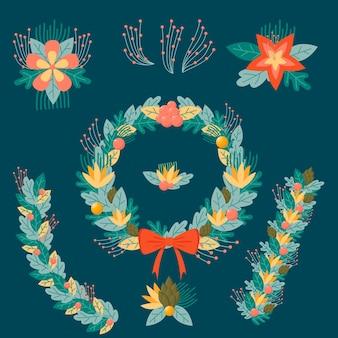 Fleurs et couronnes de noël festives
