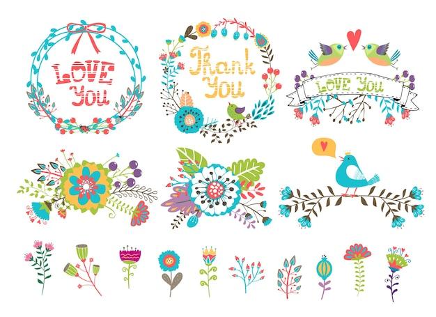 Fleurs et couronnes pour les invitations. ensemble d'éléments colorés tirés de plantes et de fleurs pour la décoration