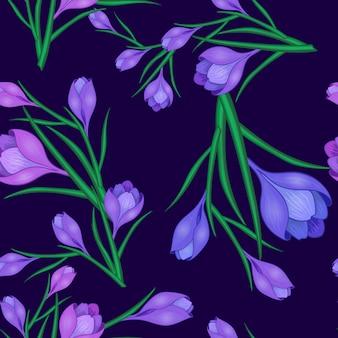 Fleurs de crocus bleu foncé