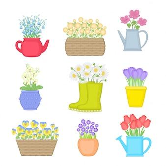 Fleurs dans différents pots. ensemble de fleurs printanières.