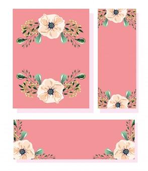 Fleurs dans un style aquarelle pour cartes et invitations de mariage