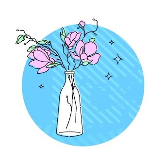 Fleurs dans un vase en verre