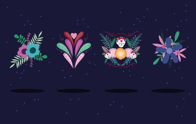 Fleurs décoratives crânes en sucre