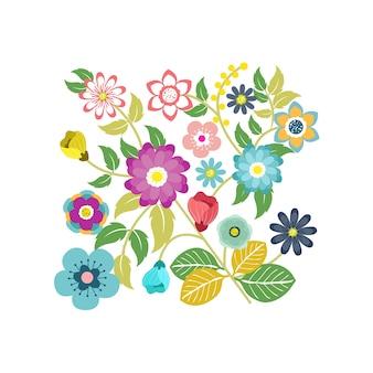 Fleurs décoratives et feuilles en style plat