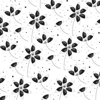 Fleurs dessin fond noir et blanc
