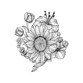 Fleurs de dessin à la main en noir et blanc