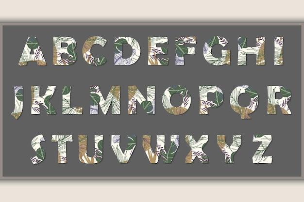 Fleurs dessinées à la main d'art de ligne de conception d'alphabet