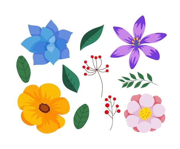 Fleurs dessinées à la main colorées
