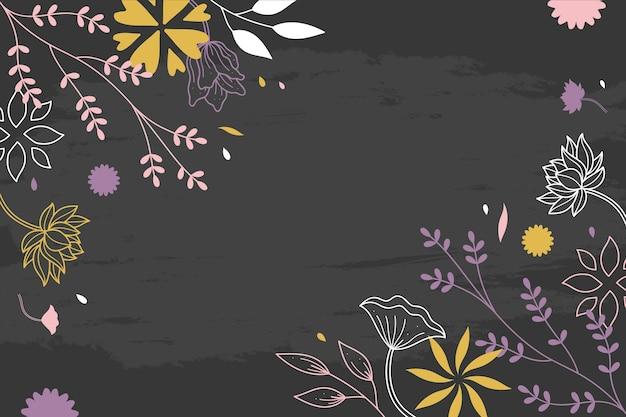 Fleurs dessinées à la main sur le concept de papier peint tableau noir