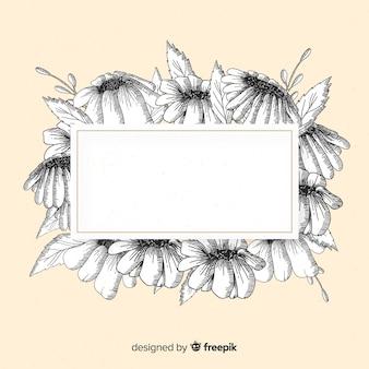 Fleurs dessinées à la main avec la maquette de l'espace de copie
